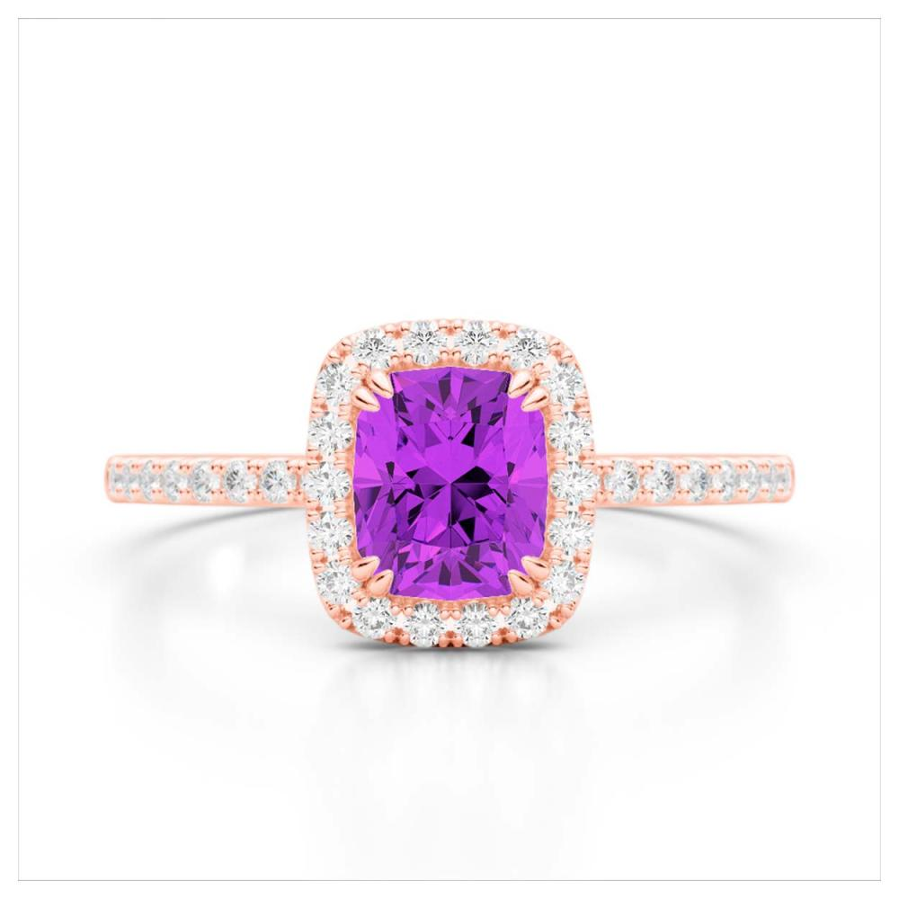 1.25 ctw Amethyst & VS/SI Diamond Ring 10K Rose Gold