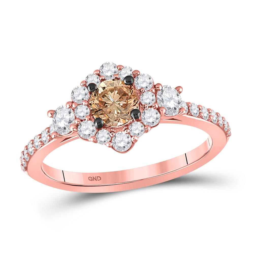 14K Rose Gold Ring Solitaire 1.13ctw Brown Diamond, Diamond,