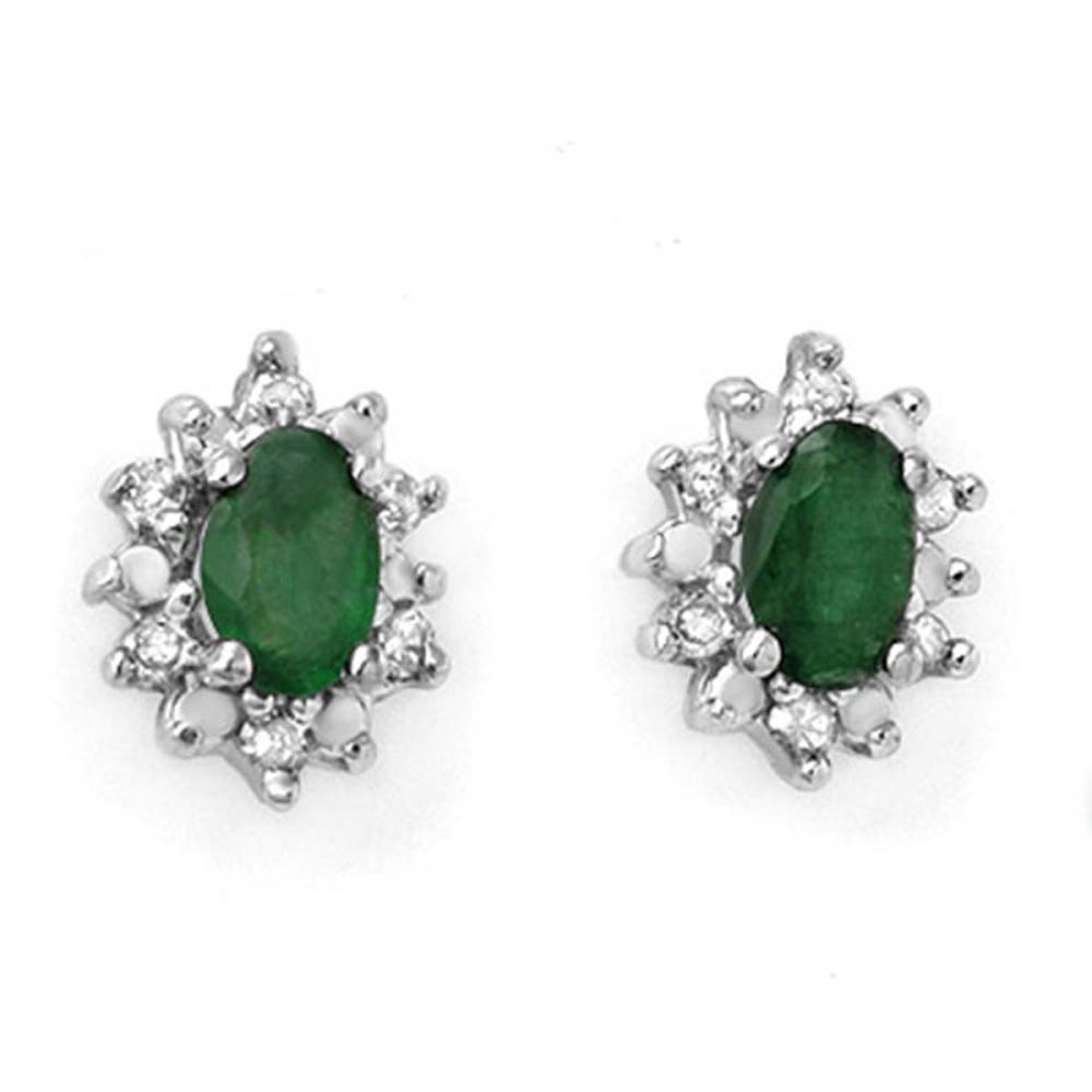 0.61 ctw Emerald & Diamond Earrings 10K Yellow Gold