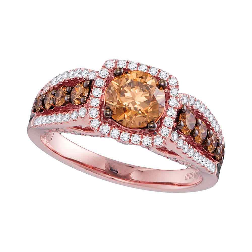 14K Rose Gold Ring Solitaire 1.91ctw Brown Diamond, Diamond,