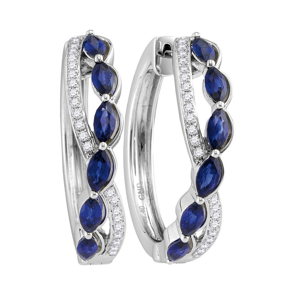 14K White Gold Earrings Woven 2.67ctw Natural Blue Sapphire, Diamond,
