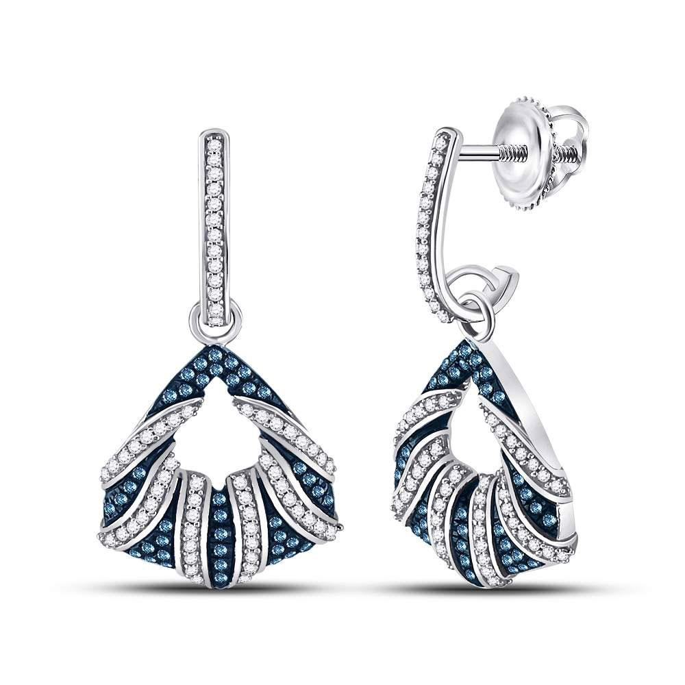 10K White Gold Earrings Dangle 0.5ctw Colored Blue Diamond, Diamond,
