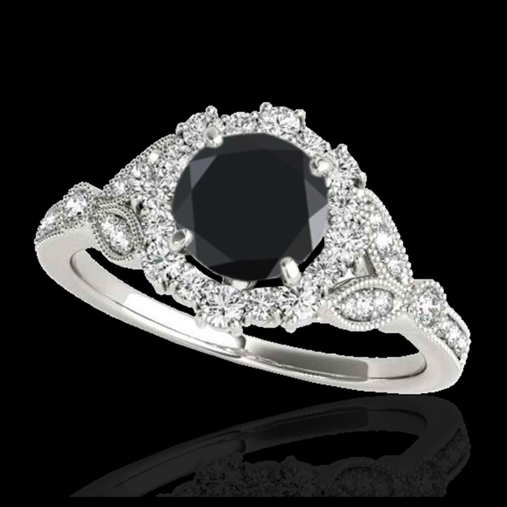 1.50 ctw Black Diamond Solitaire Halo Ring 10K White Gold