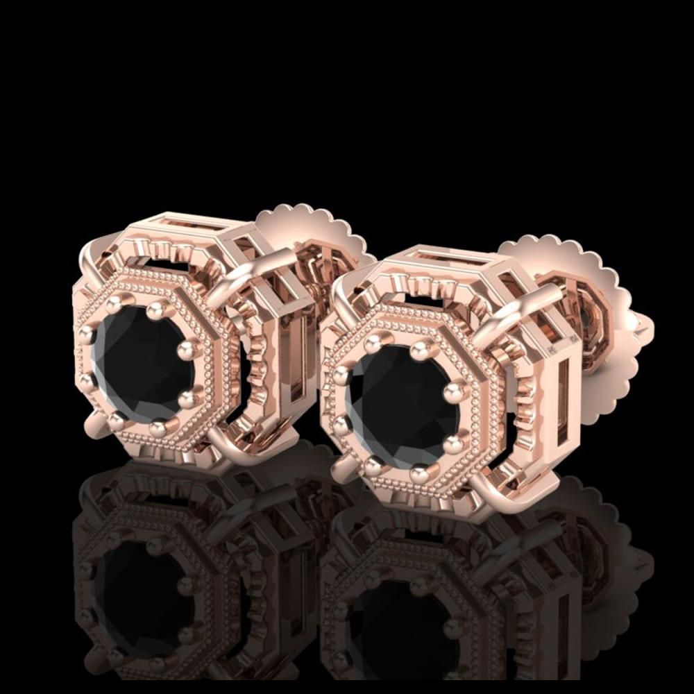 1.11 ctw Fancy Black Diamond Art Deco Stud Earrings 18K Rose Gold