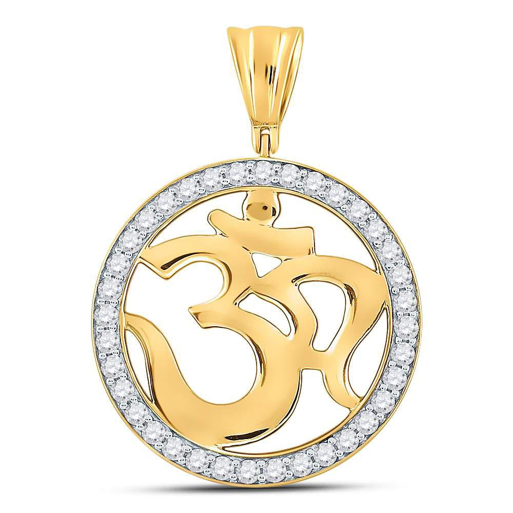 10K Yellow Gold Pendant Om Circle Hindu Atman 1ctw Diamond