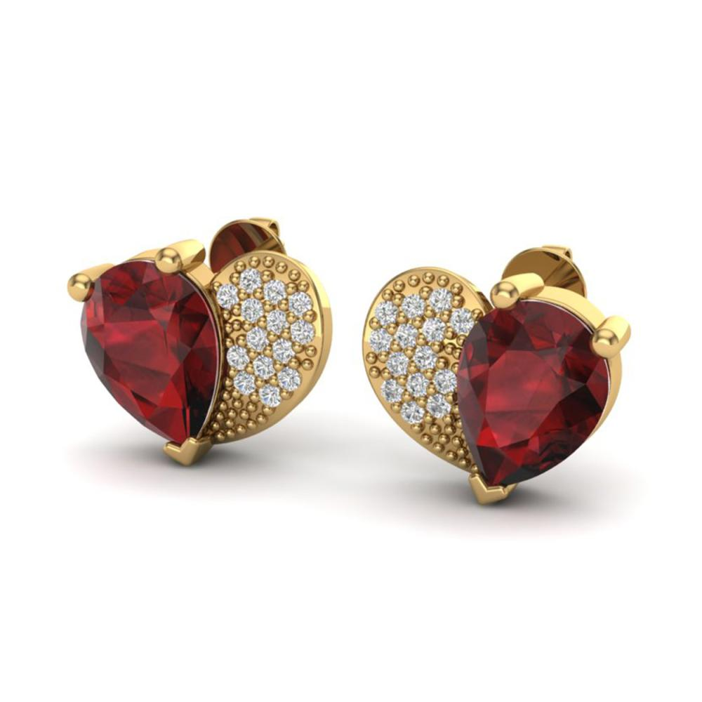 2.50 ctw Garnet & VS/SI Diamond Earrings 10K Yellow Gold