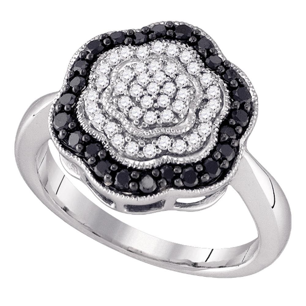 10K White Gold Ring Flower 0.51ctw Colored Black Diamond, Diamond,