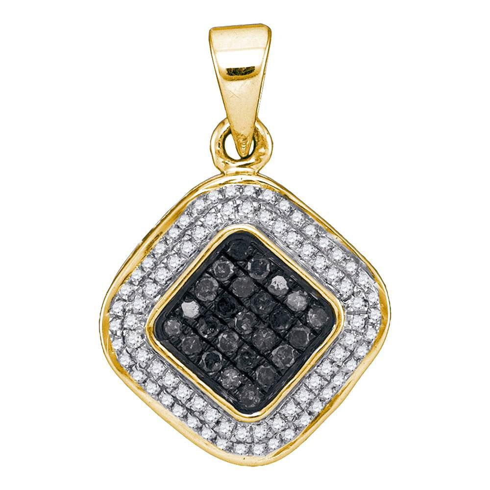 10K Yellow Gold Pendant Square Cluster 0.5ctw Colored Black Diamond, Diamond,