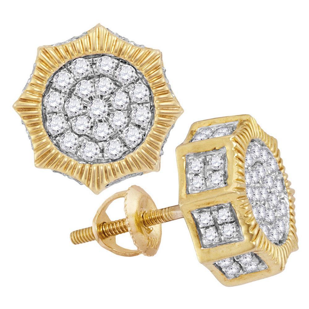 10K Yellow Gold Earrings Starburst 3D Cluster 0.75ctw Diamond