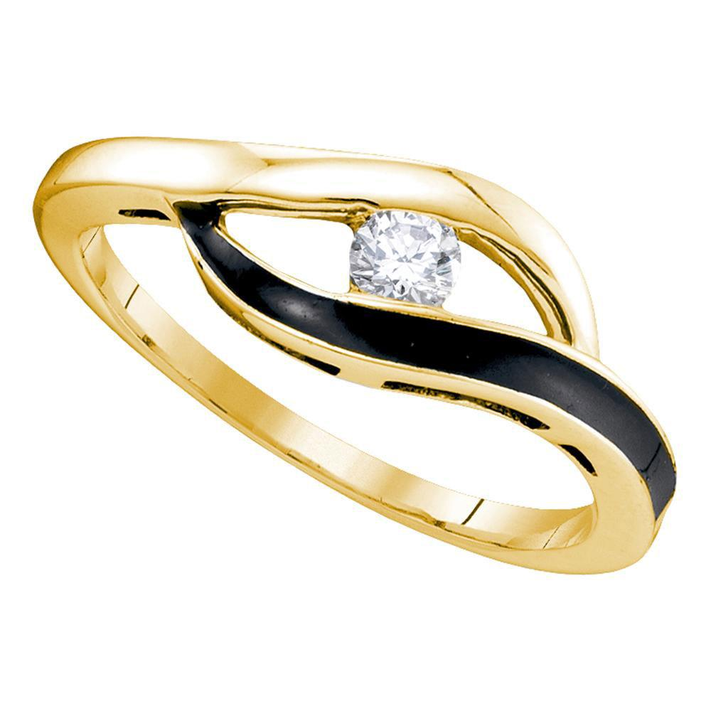 10K Yellow Gold Ring Solitaire Black-Tone Promise 0.13ctw Diamond
