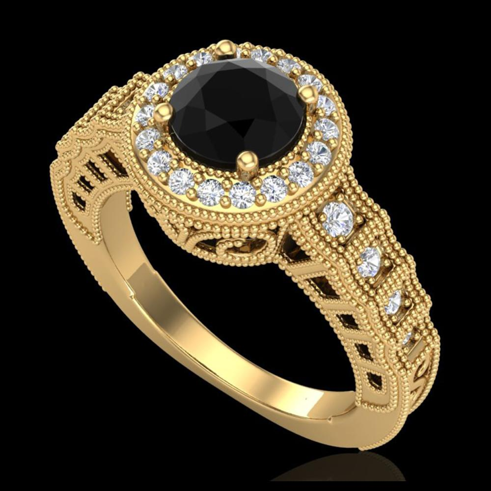 1.53 ctw Fancy Black Diamond Art Deco Ring 18K Yellow Gold