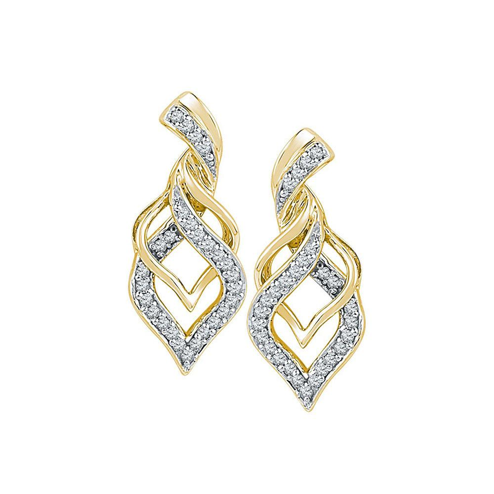 10K Yellow Gold Earrings Drop 0.2ctw Diamond