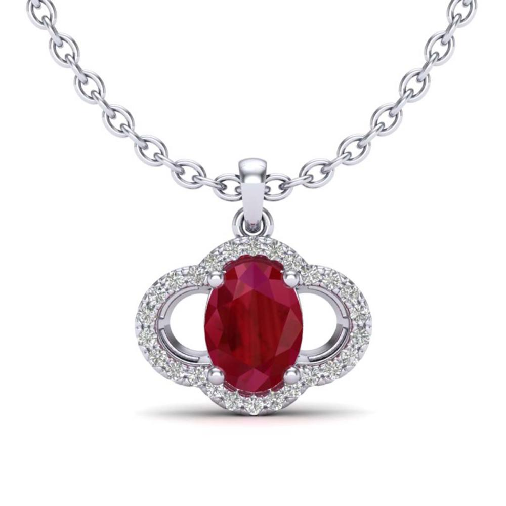 2 ctw Ruby & VS/SI Diamond Necklace 10K White Gold