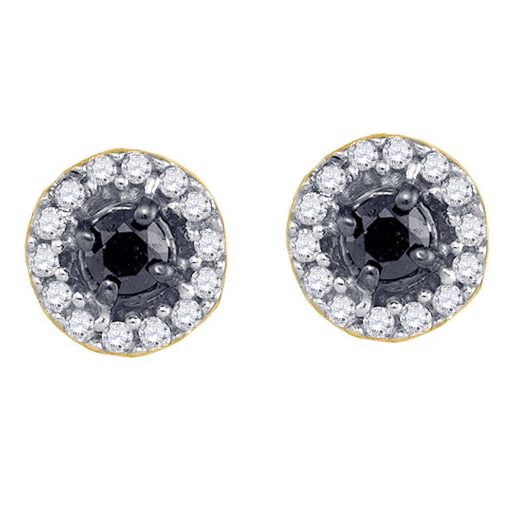 10K Yellow Gold Earrings 0.2ctw Colored Black Diamond, Diamond,