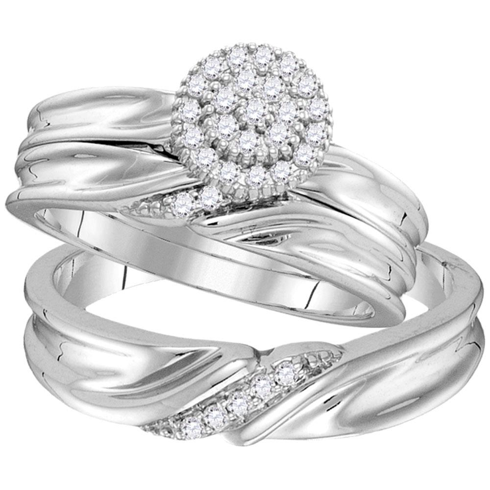 10K White Gold 3-Ring Set 0.25ctw Diamond