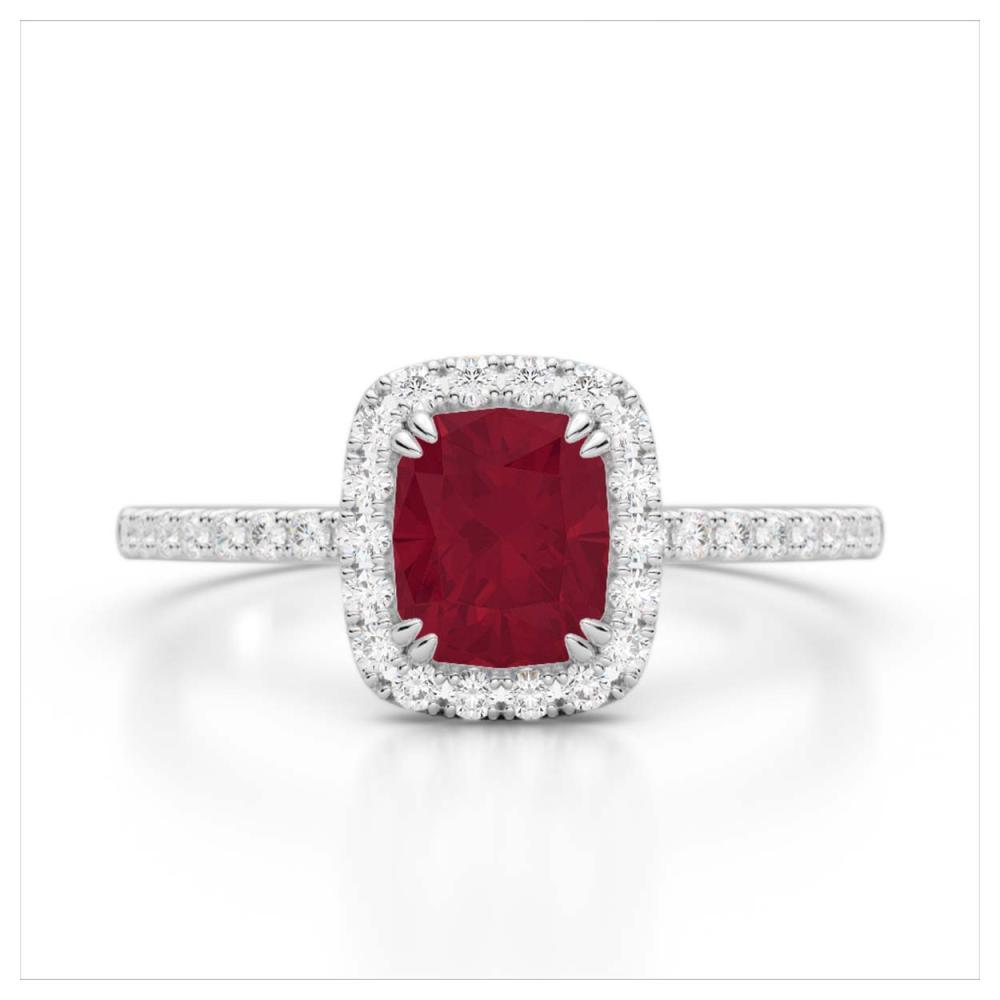 1.25 ctw Ruby & VS/SI Diamond Ring 10K White Gold