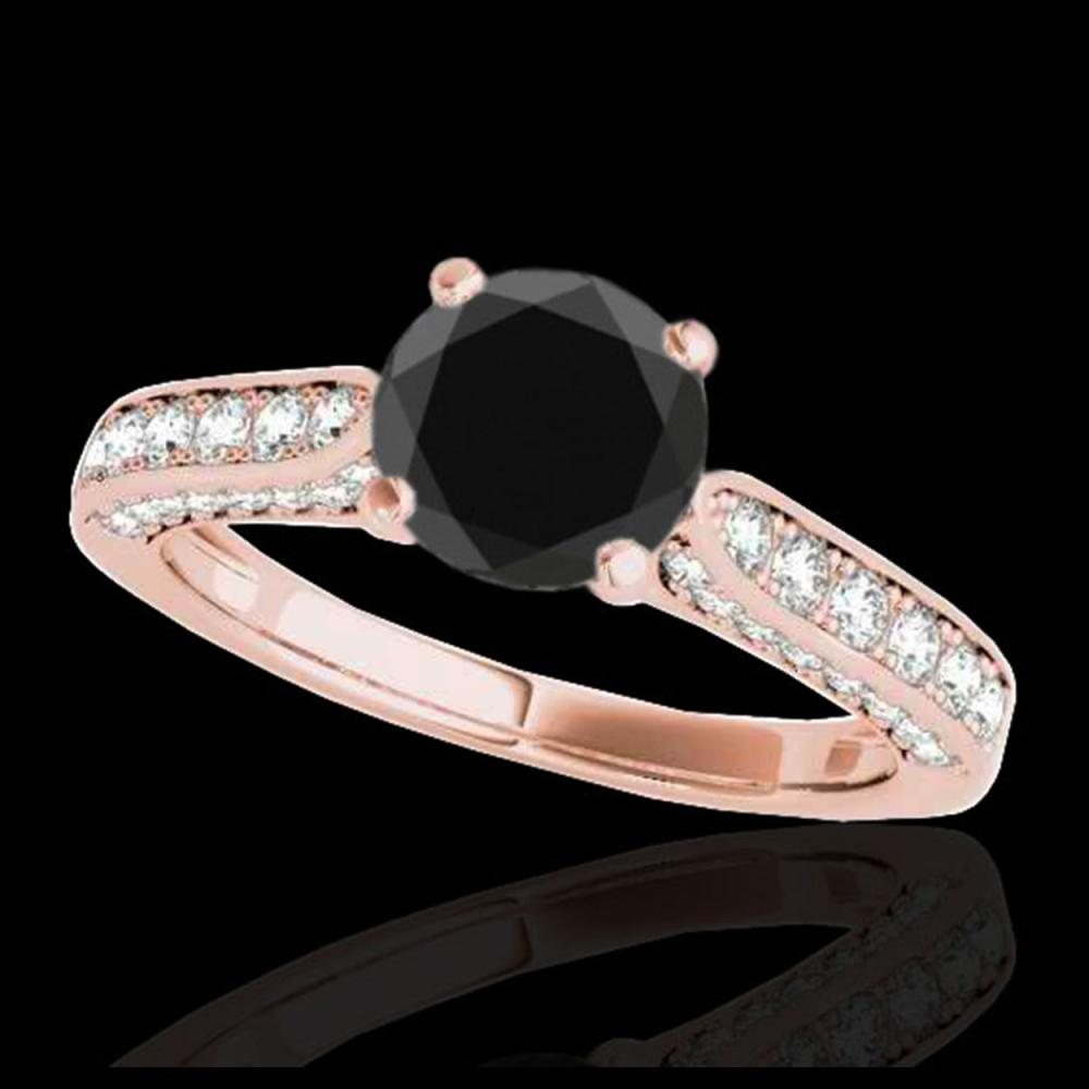 1.60 ctw Black Diamond Solitaire Ring 10K Rose Gold