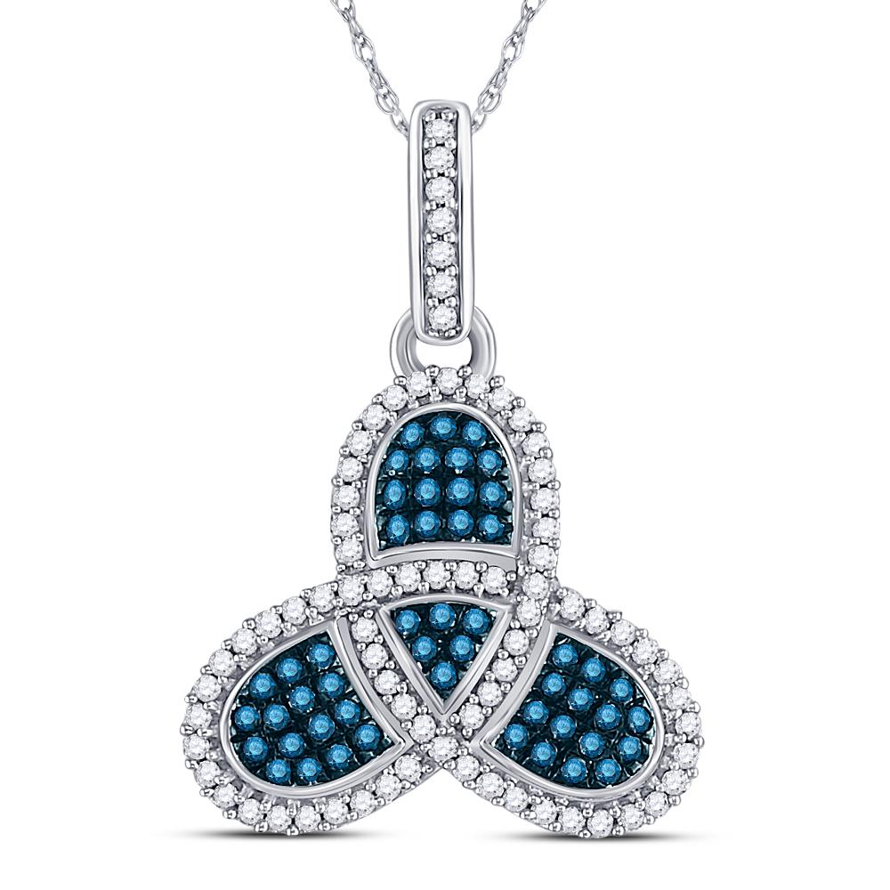 10K White Gold Pendant Triquetra 0.4ctw Colored Blue Diamond, Diamond,