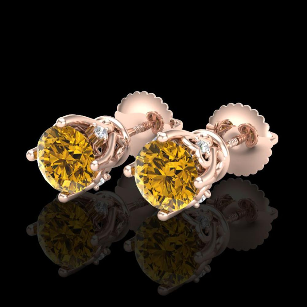 1.26 ctw Intense Fancy Yellow Diamond Art Deco Earrings 18K Rose Gold