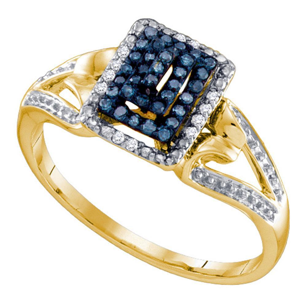 10K Yellow Gold Ring Cluster 0.15ctw Colored Blue Diamond, Diamond,