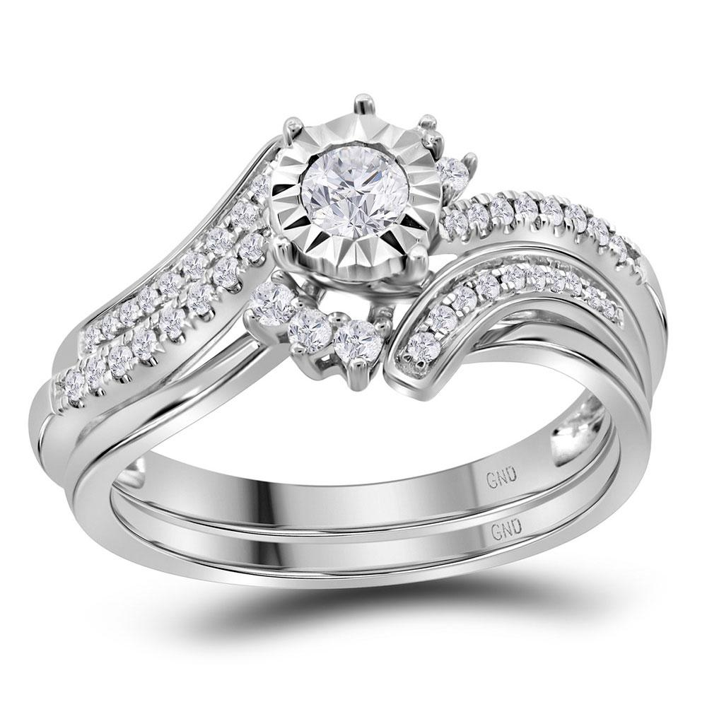 14K White Gold Ring 0.38ctw Diamond