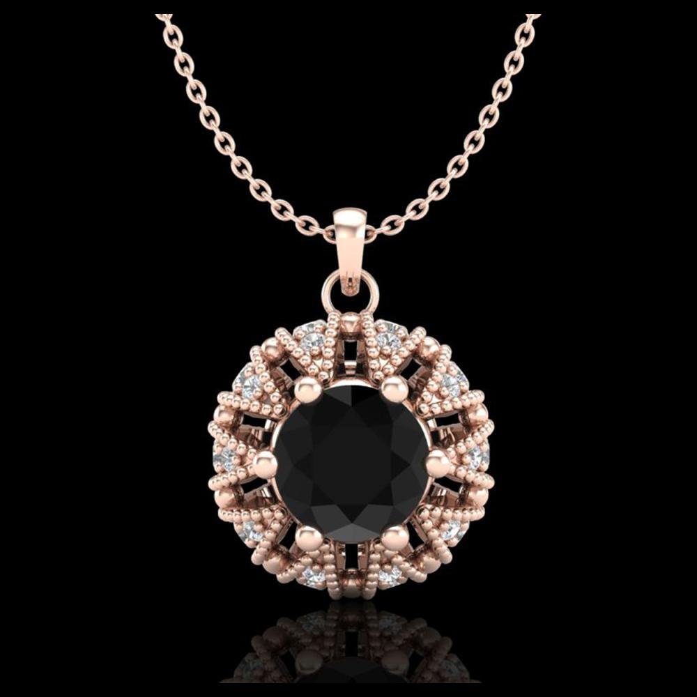 1.20 ctw Fancy Black Diamond Art Deco Necklace 18K Rose Gold