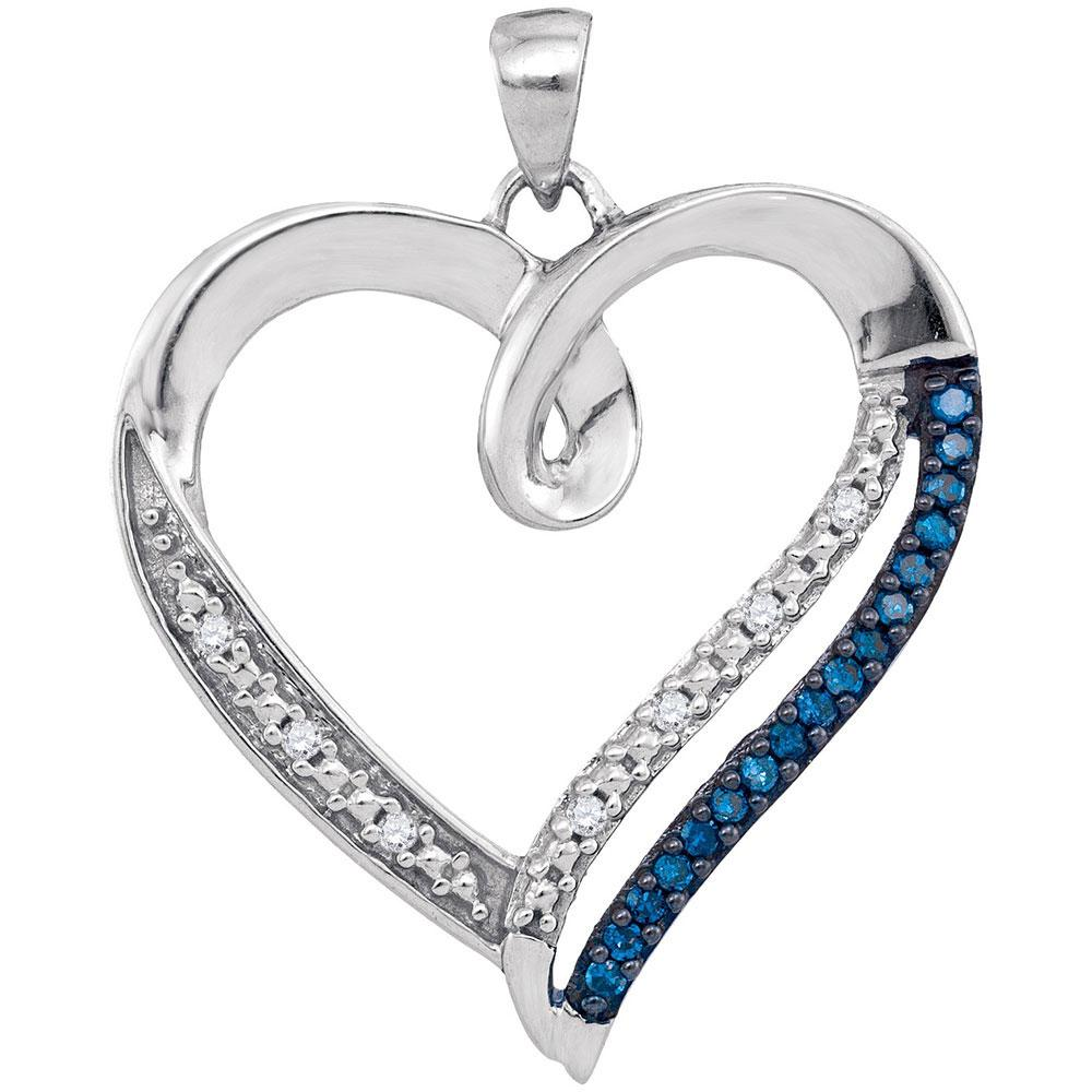 10K White Gold Pendant Heart Outline 0.15ctw Colored Blue Diamond, Diamond,