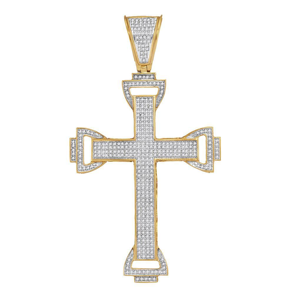 10K Yellow Gold Pendant Capital Cross 1.13ctw Diamond