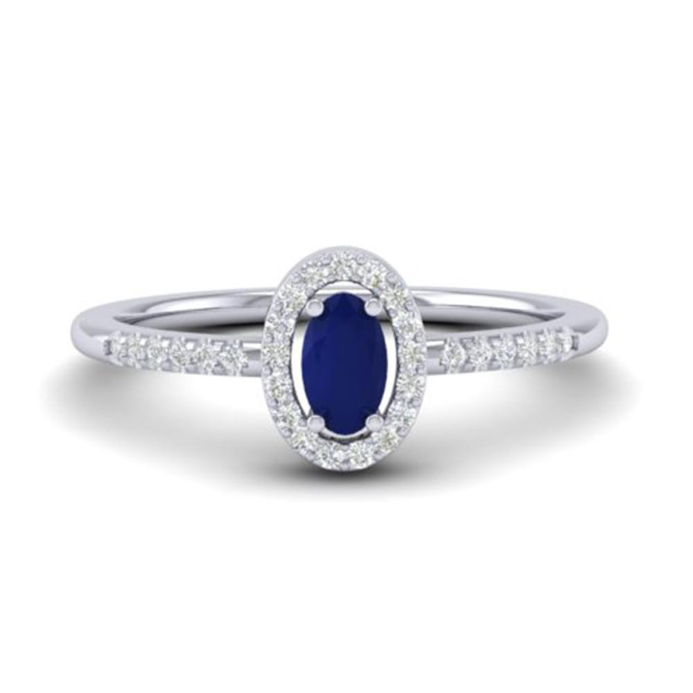 0.56 ctw Sapphire & VS/SI Diamond Ring 18K White Gold