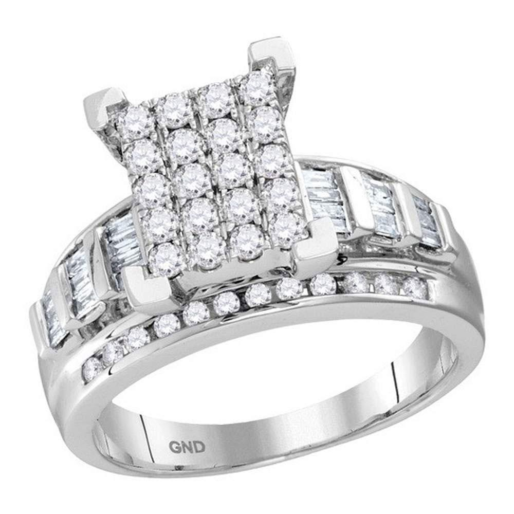 10K White Gold Ring Circle Cluster 0.5ctw Diamond