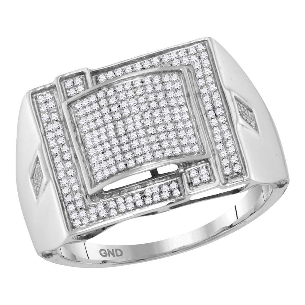 10K White Gold Ring Micro-Pave 0.4ctw Diamond
