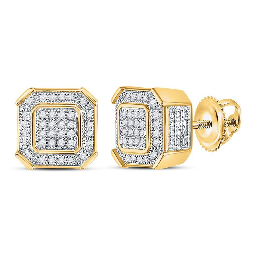 10K Yellow Gold Earrings Square Cluster 0.22ctw Diamond
