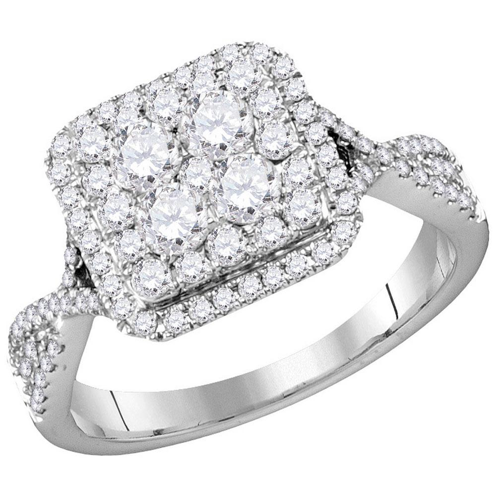 14K White Gold Ring Cluster 1ctw Diamond