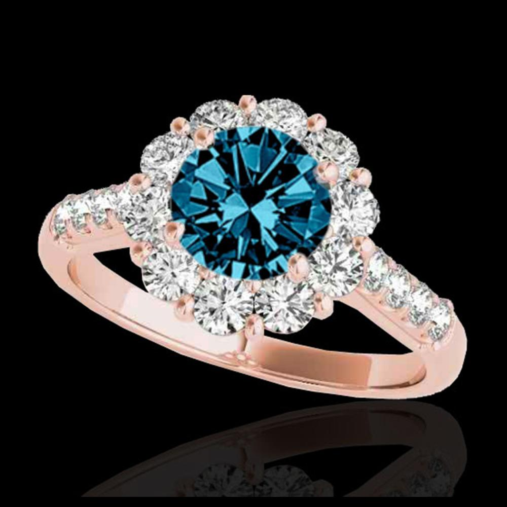 2.75 ctw SI Fancy Blue Diamond Halo Ring 10K Rose Gold