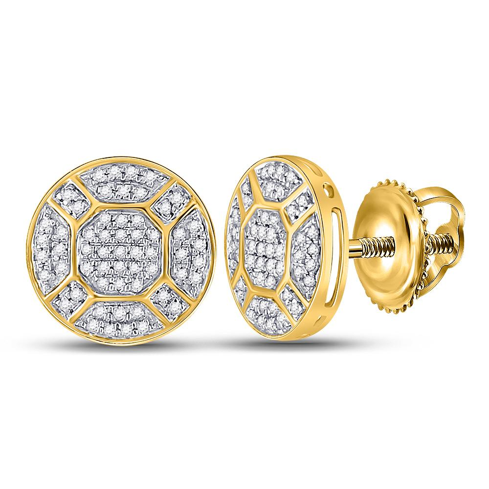 10K Yellow Gold Earrings Circle Cluster 0.35ctw Diamond