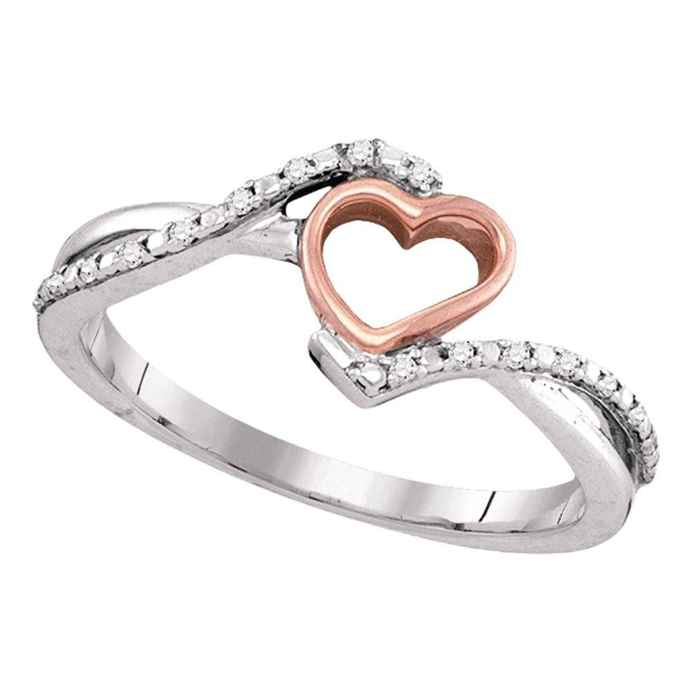 10K White Gold Ring 2-Tone Slender Heart 0.07ctw Diamond