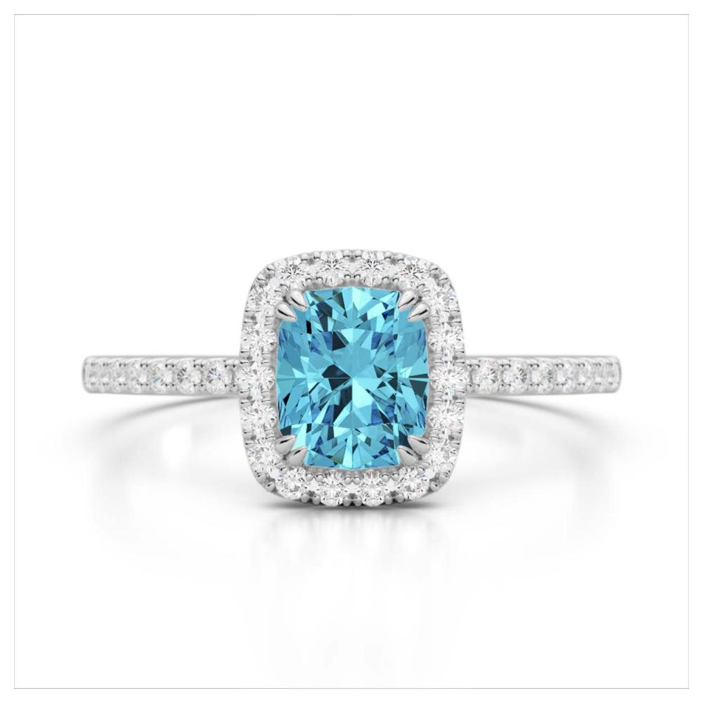 1.25 ctw Sky Blue Topaz & VS/SI Diamond Ring 10K White Gold