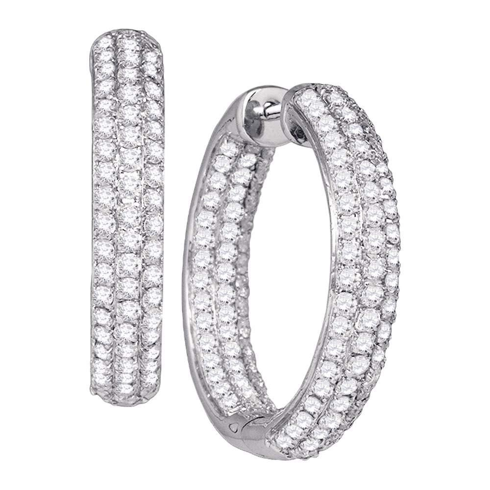 14K White Gold Hoop Earrings Inside Outside 2.87ctw Diamond