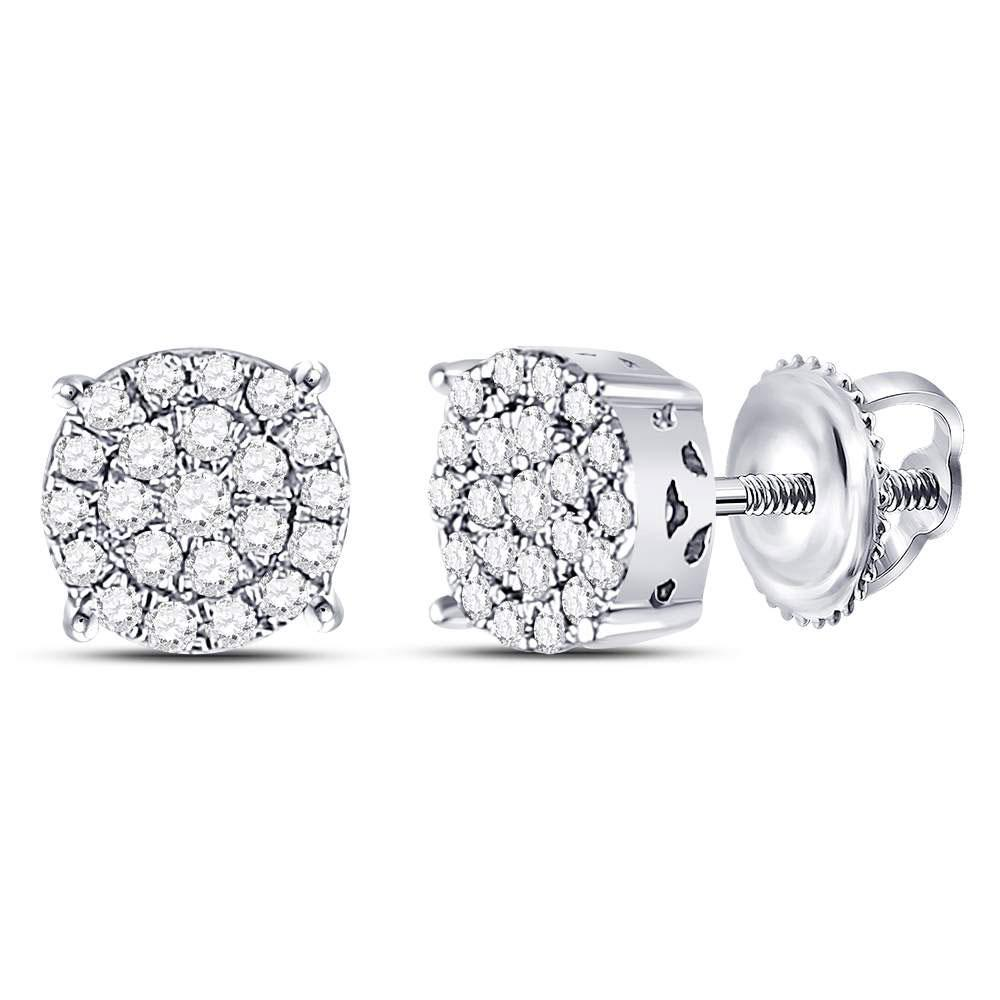 10K White Gold Earrings Circle Cluster 0.25ctw Diamond