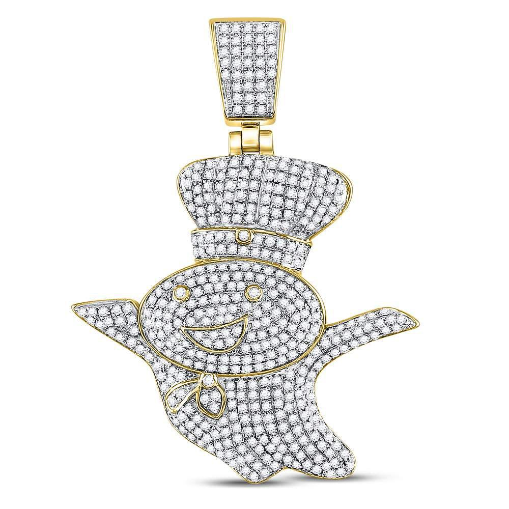 10K Yellow Gold Pendant Doughboy 1.33ctw Diamond