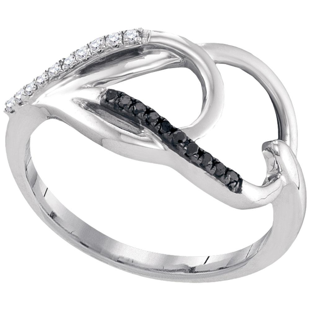 Sterling Silver Ring 0.1ctw Colored Black Diamond, Diamond,