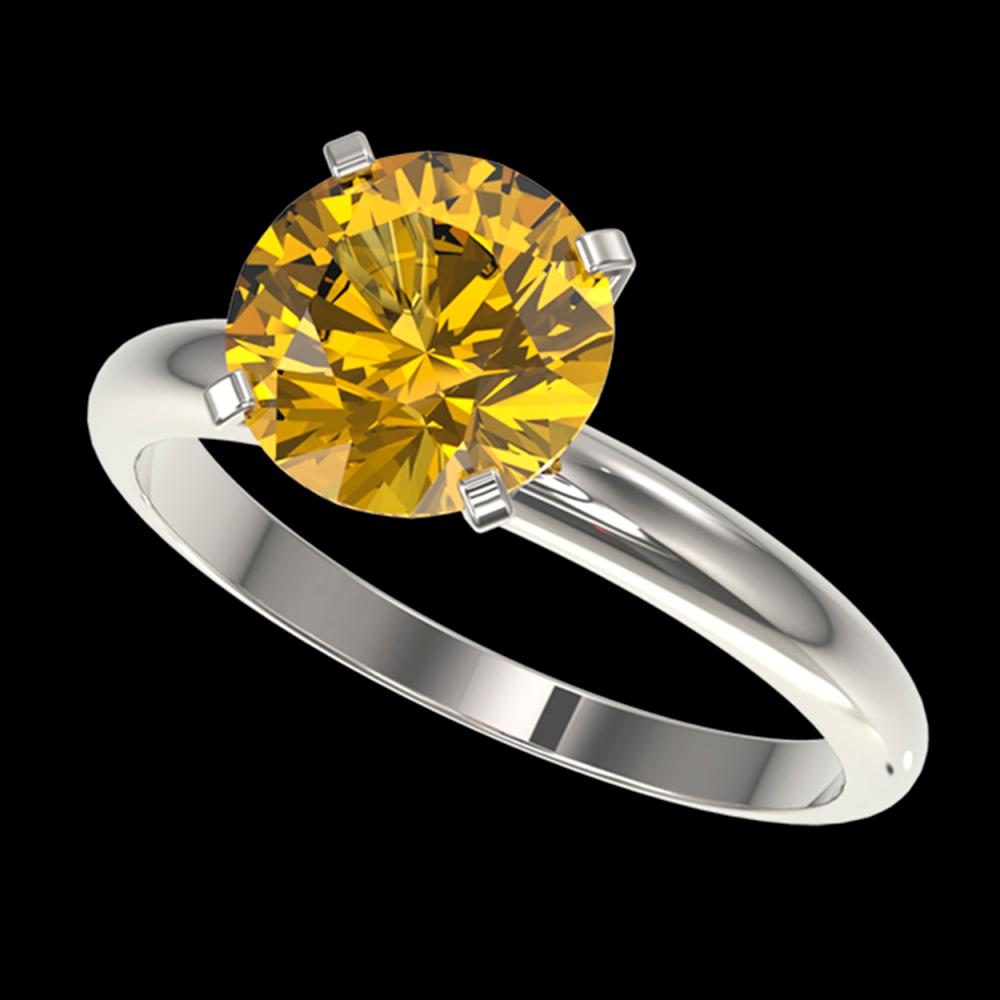 2.50 ctw Intense Yellow Diamond Solitaire Ring 10K White Gold