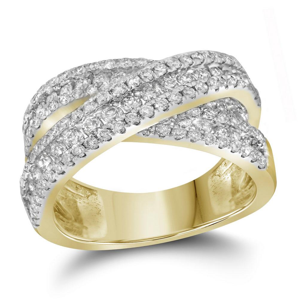 14K Yellow Gold Ring Crossover 2.34ctw Diamond
