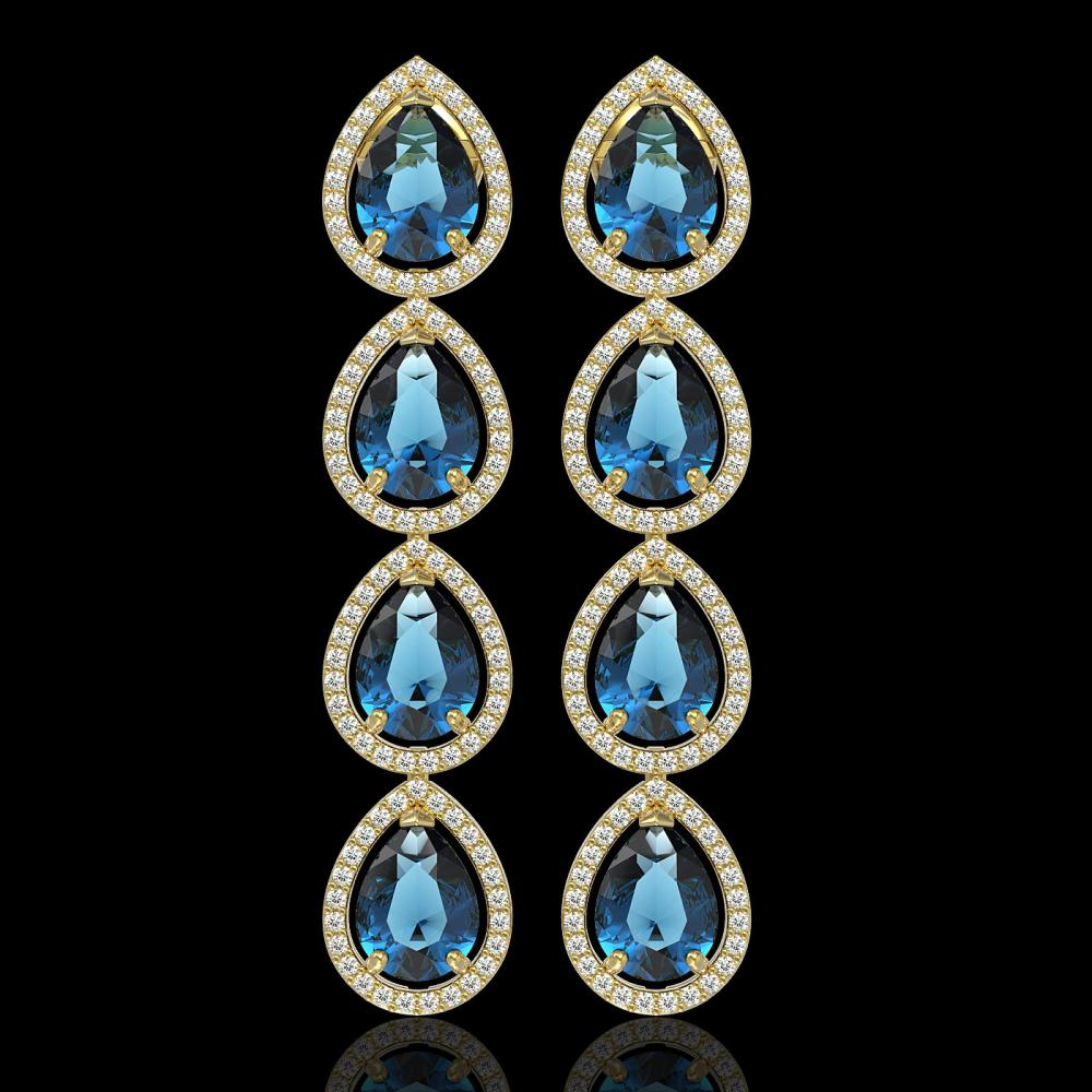 11.2 ctw London Topaz & Diamond Halo Earrings 10K Yellow Gold
