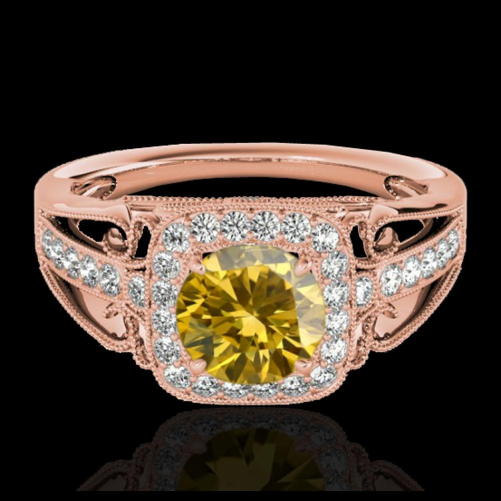 1.30 ctw SI/I Fancy Intense Yellow Diamond Ring 10K Rose Gold