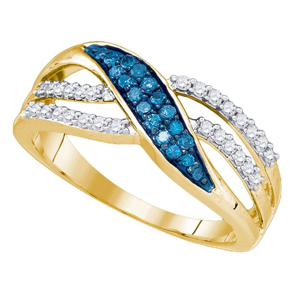 Blue Color Enhanced Diamond Band 10kt Yellow Gold