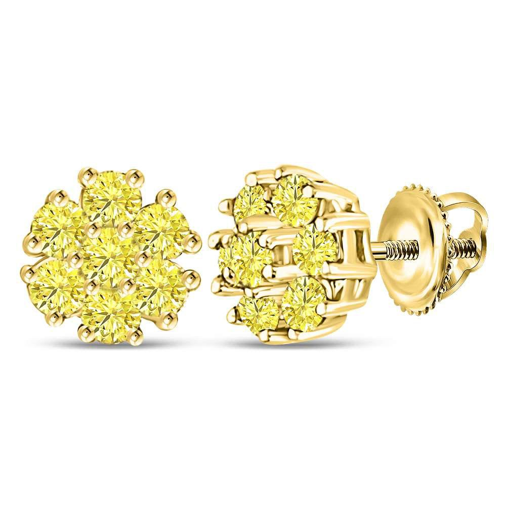 Yellow Color Enhanced Diamond Cluster Earrings 10kt Yellow Gold