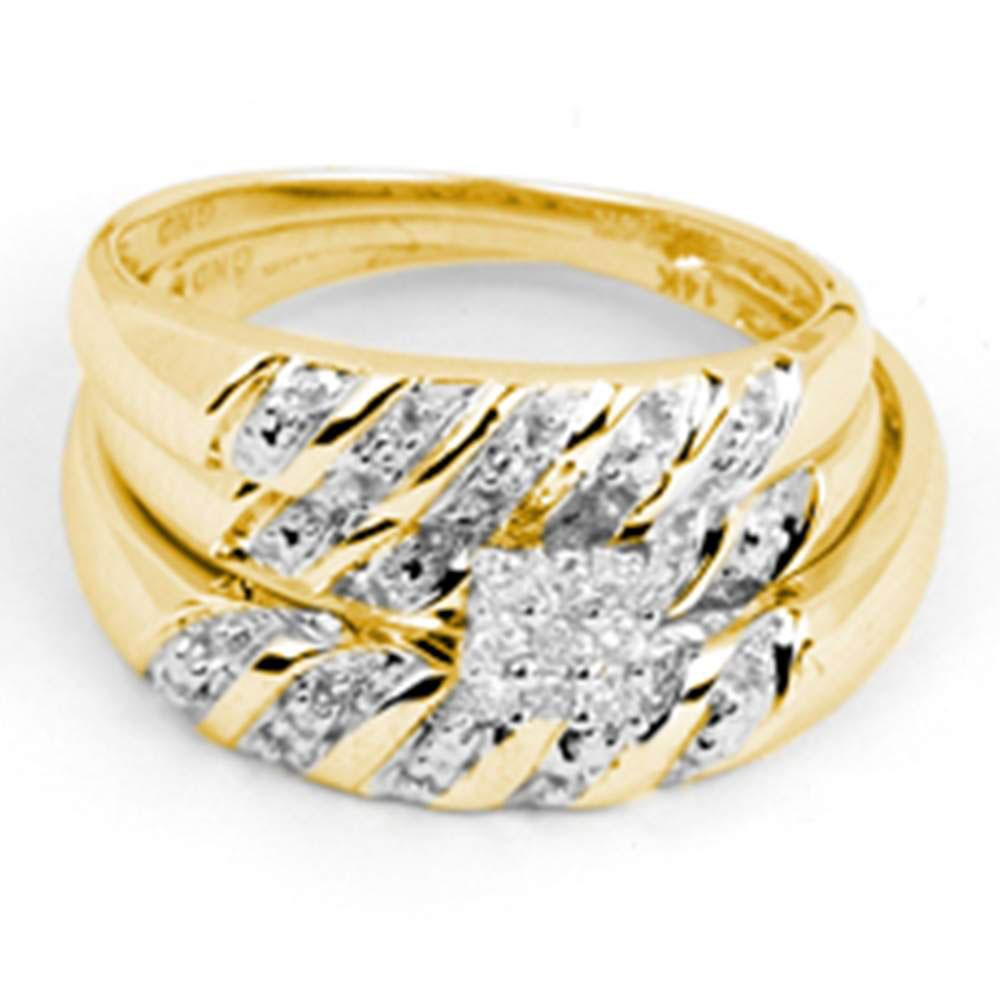 His & Hers Diamond Cluster Matching Bridal Wedding Ring 14kt Yellow Gold