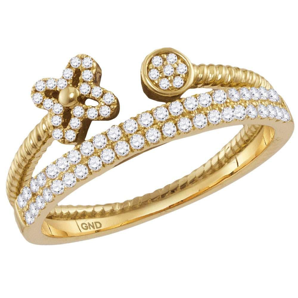 Diamond Flower Bisected Stackable Band 14kt Yellow Gold