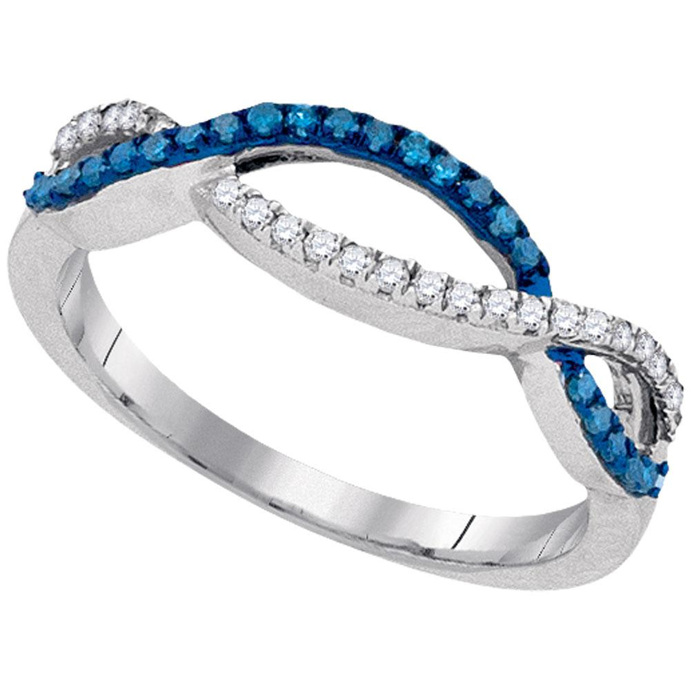 Blue Color Enhanced Diamond Twist Double Row Band 10kt White Gold